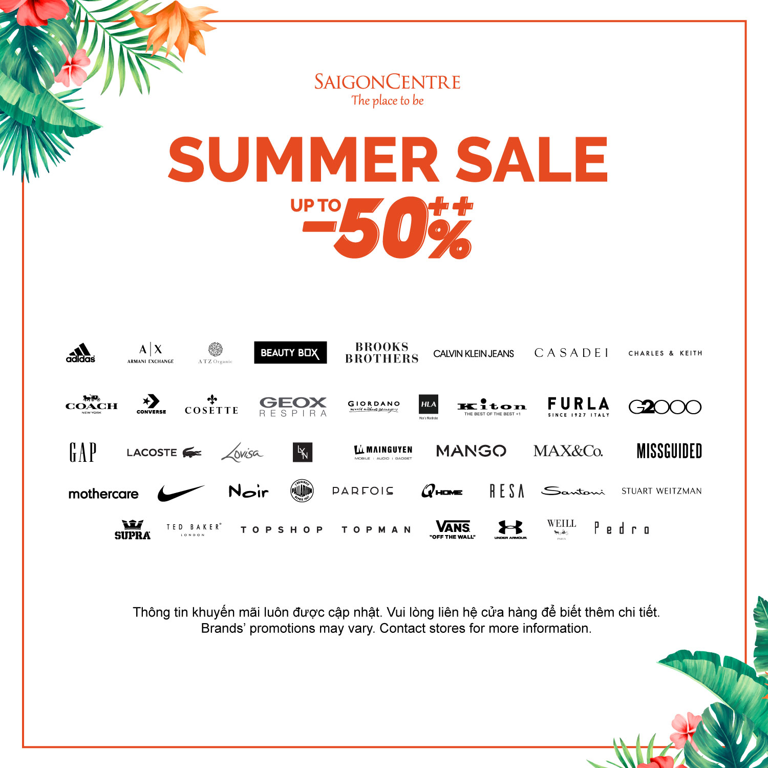 SUMMER SALE UP TO 50% AT SAIGON CENTRE