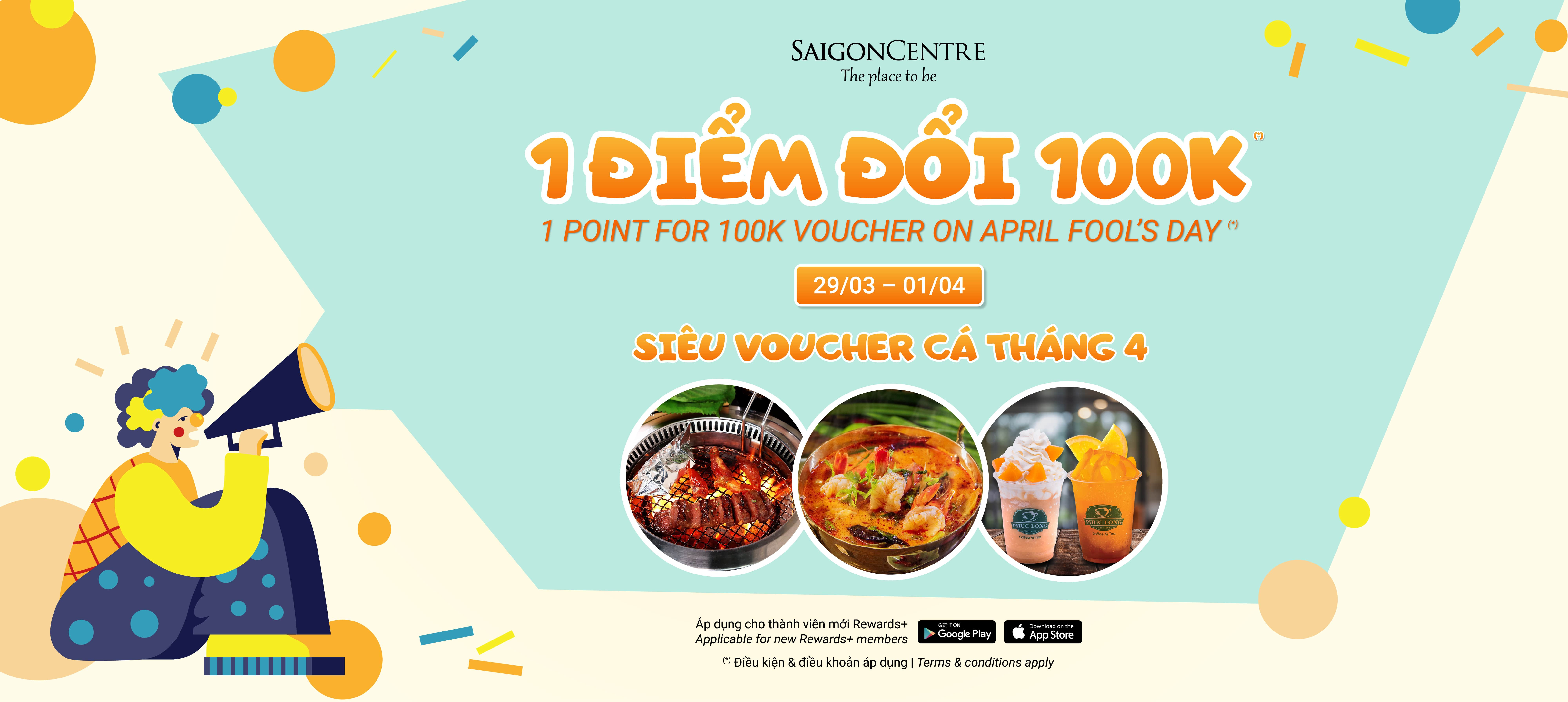 1 REWARDS+ POINT FOR VND100K VOUCHER ON APRIL FOOL'S DAY